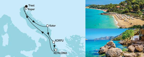 Routenverlauf Adria mit Korfu am 28.08.2022