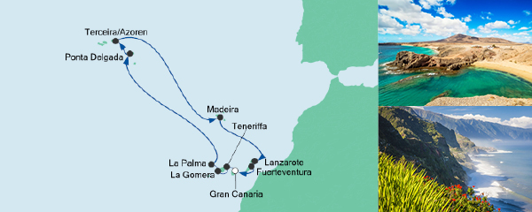 Routenverlauf Azoren & Kanaren am 18.11.2019