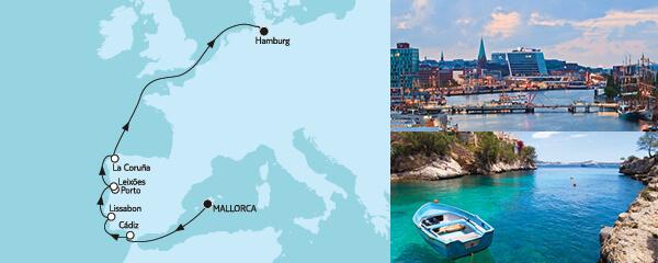 Routenverlauf Mallorca bis Hamburg I am 11.04.2022
