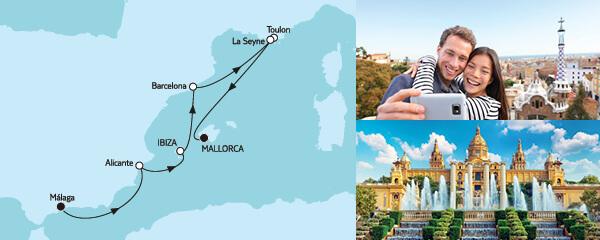 Routenverlauf Málaga bis Mallorca am 05.08.2022
