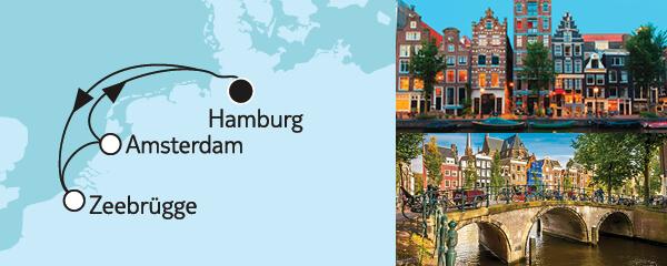 Routenverlauf Kurzreise mit Zeebrügge & Amsterdam am 19.04.2022