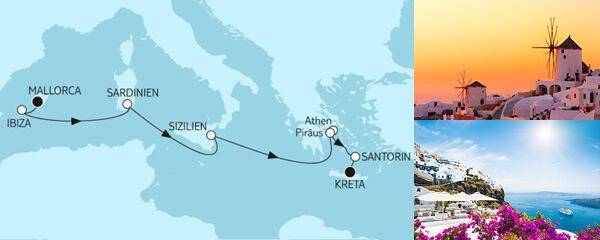 Routenverlauf Mallorca bis Kreta am 13.04.2022