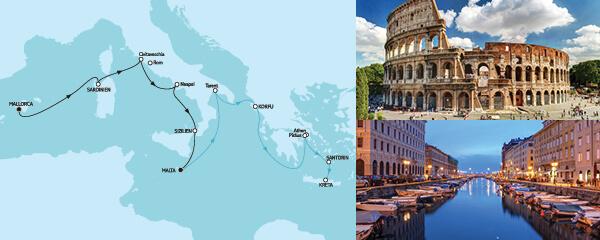 Routenverlauf Mallorca bis Malta II & Kreta am 17.06.2022