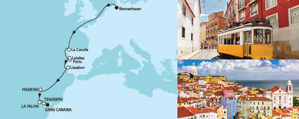 Routenverlauf Bremerhaven bis Gran Canaria am 19.10.2022