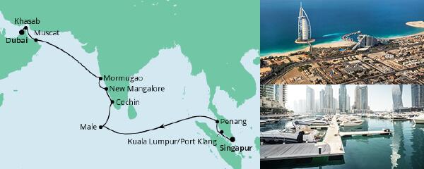 AIDA Seetours Angebot Von Singapur nach Dubai