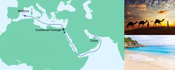 AIDA Pauschal Angebot AIDA pur von Dubai nach Mallorca