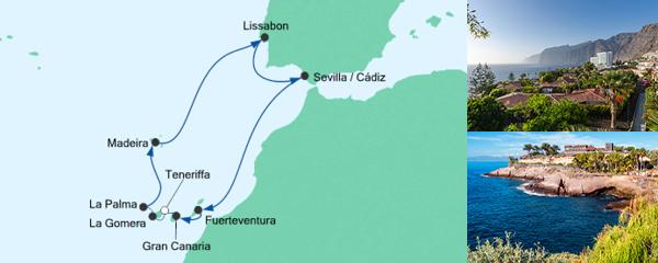 AIDA Pauschal Angebot Kanaren, Portugal & Spanien 2