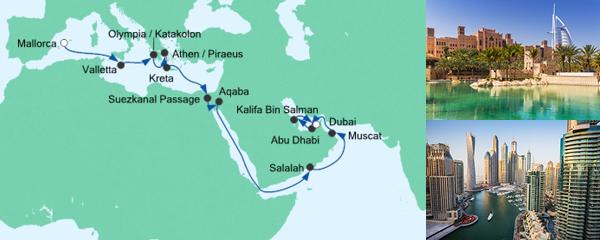 AIDA Angebotsextra Von Mallorca nach Dubai 2