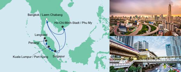 Routenverlauf Thailand, Malaysia & Singapur 2 am 23.12.2019