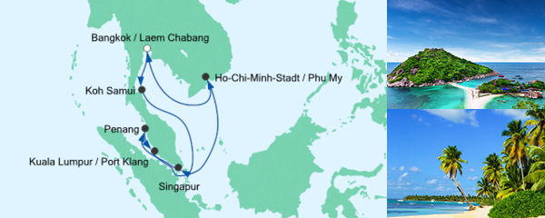 AIDA Pauschal Angebot Thailand, Malaysia & Singapur 2