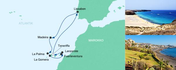 AIDA Verlockung der Woche Angebot Silvesterreise Kanaren, Lissabon & Madeira