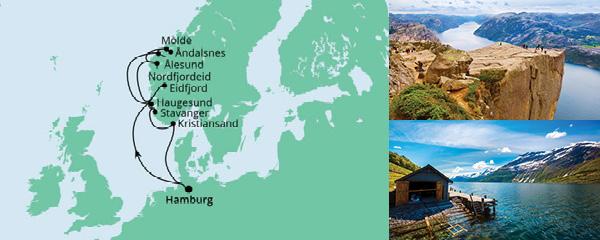 Routenverlauf Norwegens Fjorde ab Hamburg 2 am 28.05.2021