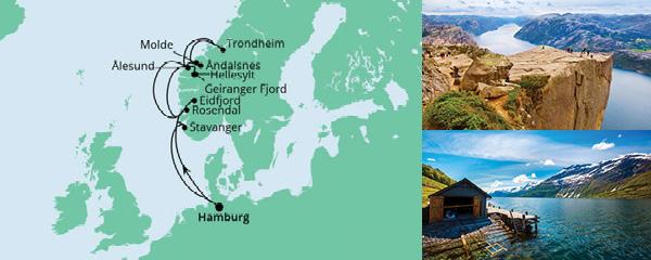 Routenverlauf Norwegens Fjorde ab Hamburg 2 am 07.06.2021