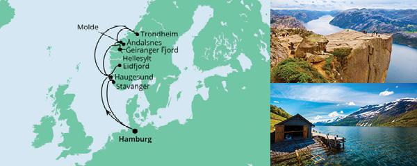 Routenverlauf Norwegens Fjorde ab Hamburg 2 am 17.06.2021