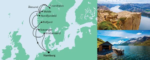 Routenverlauf Norwegens Fjorde ab Hamburg 2 am 27.06.2021