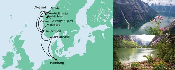 Routenverlauf Norwegens Fjorde ab Hamburg 2 am 26.07.2021
