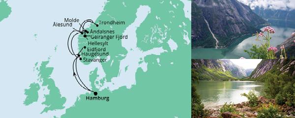 Routenverlauf Norwegens Fjorde ab Hamburg 2 am 05.08.2021