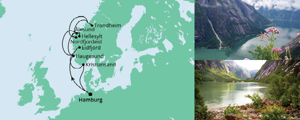 Routenverlauf Norwegens Fjorde ab Hamburg 2 am 15.08.2021