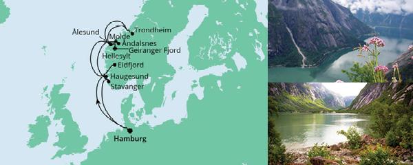 Routenverlauf Norwegens Fjorde ab Hamburg 2 am 10.09.2021