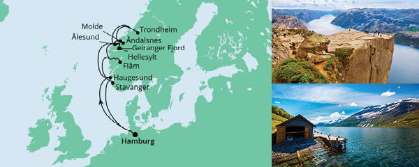 Routenverlauf Norwegens Fjorde ab Hamburg 2 am 20.09.2021