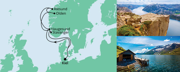 Routenverlauf Norwegen ab Kiel 2 am 18.06.2022