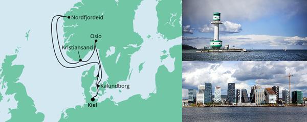 Routenverlauf Norwegen ab Kiel 1 am 02.07.2022