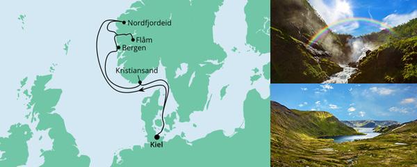 Routenverlauf Norwegen ab Kiel 1 am 16.07.2022