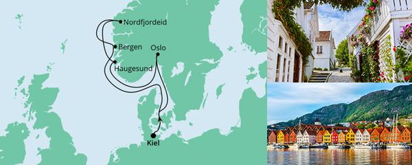 Routenverlauf Norwegen ab Kiel 1 am 27.08.2022
