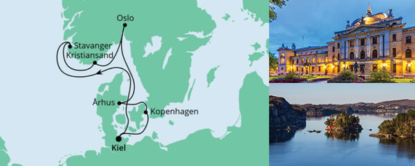 Routenverlauf Norwegen & Dänemark ab Kiel am 09.10.2022