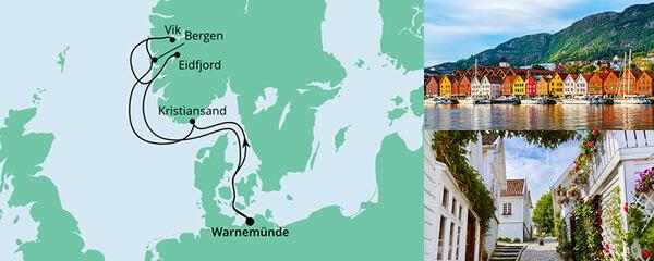 Routenverlauf Norwegens Fjorde ab Warnemünde am 11.06.2022