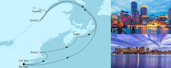 Routenverlauf Neuengland mit Kanada I am 08.09.2022