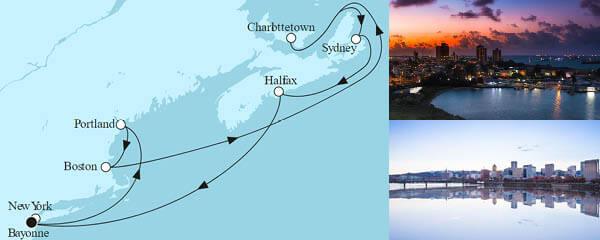Routenverlauf Neuengland mit Kanada II am 22.09.2022