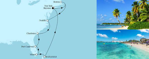 Routenverlauf New York mit Bahamas am 03.10.2022