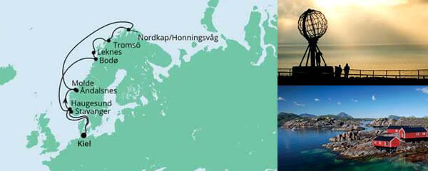 Routenverlauf Norwegen mit Lofoten & Nordkap am 24.07.2022
