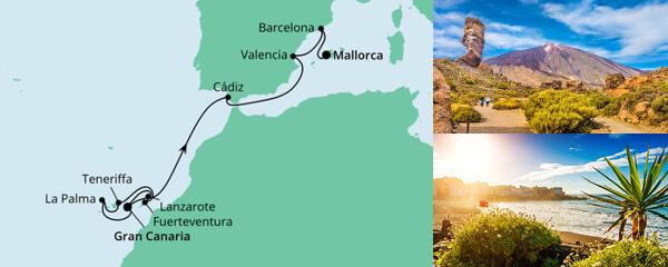 Routenverlauf Von Gran Canaria nach Mallorca 2 am 26.06.2021