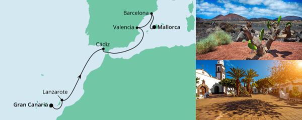 Routenverlauf Von Gran Canaria nach Mallorca 1 am 03.07.2021