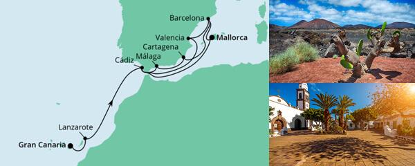 Routenverlauf Von Gran Canaria nach Mallorca 3 am 03.07.2021