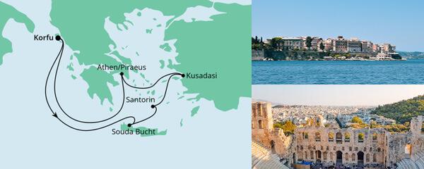 Routenverlauf Griechenland ab Korfu am 18.09.2022