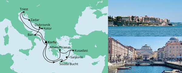 Routenverlauf Adria & Griechenland am 18.09.2022