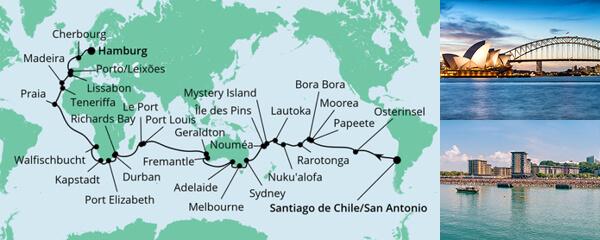 Routenverlauf Von San Antonio Nach Hamburg am 01.12.2022