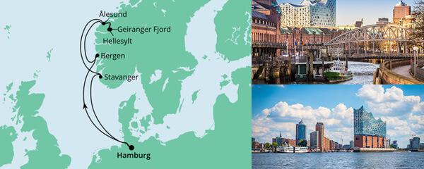 Routenverlauf Ahoi Tour ab Hamburg nach Norwegen am 09.10.2021