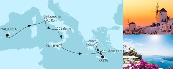 Routengrafik Große Freiheit - Mallorca bis Östliches Mittelmeer