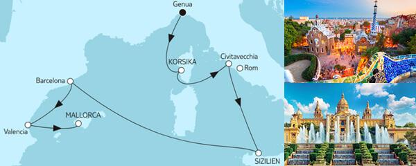 Routengrafik Große Freiheit - Genua bis Mallorca
