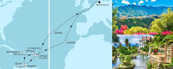 Routenverlauf Karibische Inseln ab Bremerhaven 1 am 31.10.2021