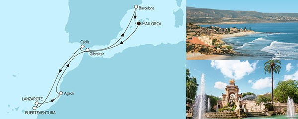 Routenverlauf Mittelmeer mit Kanaren I am 23.01.2019
