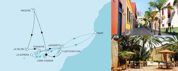 Routenverlauf Kanaren mit Lanzarote & Madeira am 20.01.2019