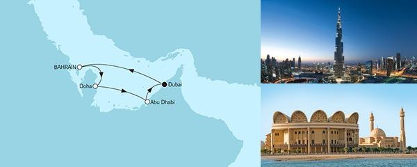 Routenverlauf Dubai mit Katar am 28.01.2019