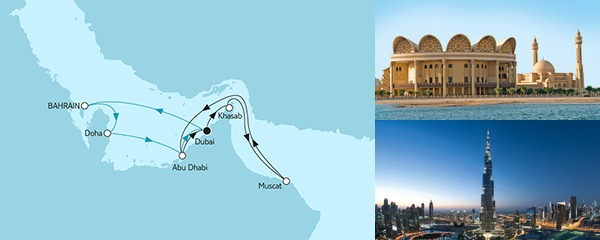 Routenverlauf Dubai mit Katar & Oman am 21.01.2019