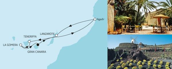 Routenverlauf Kanaren mit Lanzarote am 20.01.2019