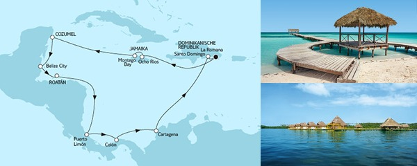 Routenverlauf Karibik und Mittelamerika I am 25.01.2019